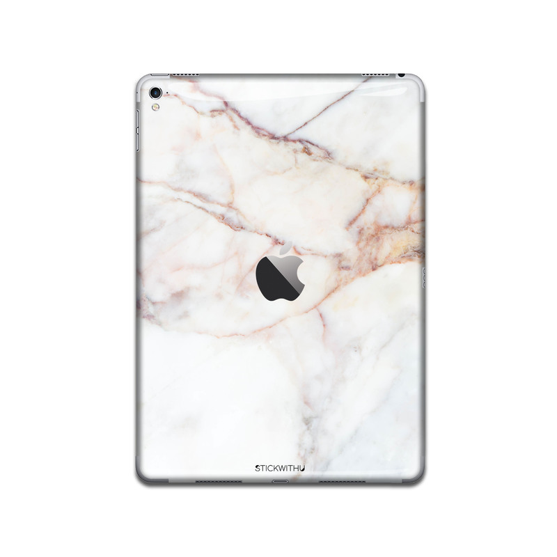 IPA044  Back White Marble Ipad Skin Sticker Deca