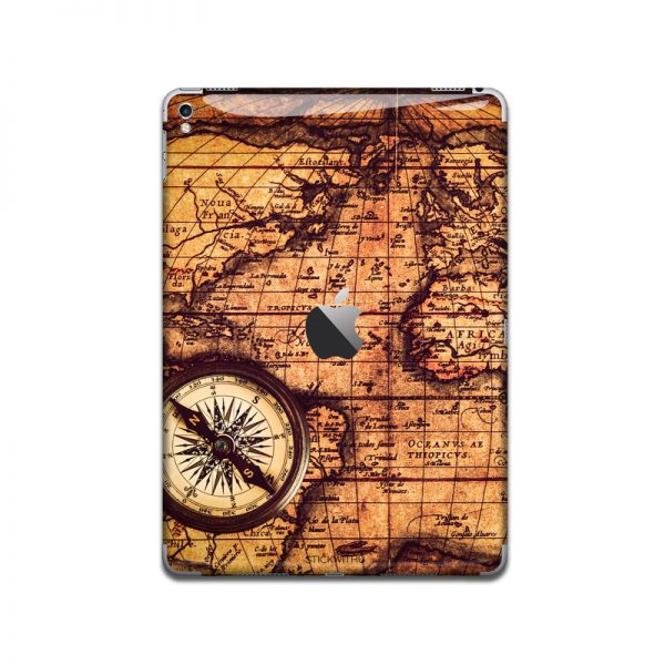 IPA055  Front  Vintage Map Compass   Ipad Skin S