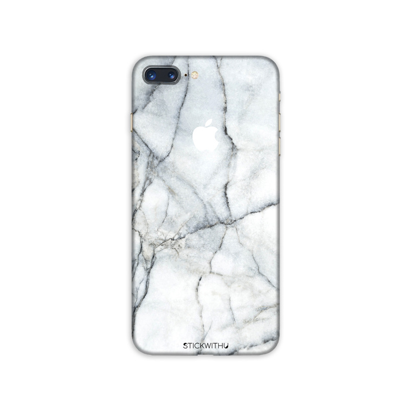 PS144  Back White Marble Iphone Skin Sticker Pho